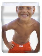 Smiling Boy On Beach Duvet Cover by Kicka Witte