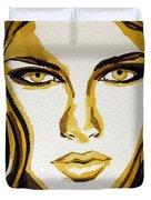 Smokey Eyes woman portrait Duvet Cover by Patricia Awapara
