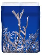 Snow And Ice Coated Branches Duvet Cover by Anonymous