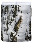 Snow-covered Canyon Walls In Yellowstone National Park Duvet Cover by Bruce Gourley