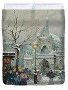 Snow Scene in Paris Duvet Cover by Eugene Galien-Laloue