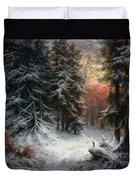 Snow Scene In The Black Forest Duvet Cover by Carl Friedrich Wilhelm Trautschold