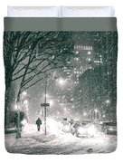 Snow Swirls At Night In New York City Duvet Cover by Vivienne Gucwa