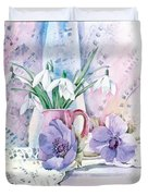 Snowdrops And Anemones Duvet Cover by Julia Rowntree