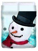 Snowman Christmas Art - Frosty Duvet Cover by Sharon Cummings