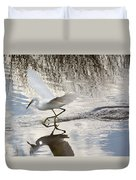 Snowy Egret Gliding Across The Water Duvet Cover by John M Bailey