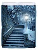 Snowy Stairway Duvet Cover by Jill Battaglia
