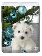 Snowy White Puppy Present Duvet Cover by Greg Cuddiford