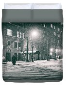 Snowy Winter Night - Sutton Place - New York City Duvet Cover by Vivienne Gucwa