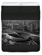 Soldier Field Chicago Sports 05 Black And White Duvet Cover by Thomas Woolworth