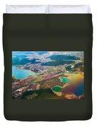 Somewhere Over Latvia. Rainbow Earth Duvet Cover by Jenny Rainbow