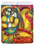 Sonata For Two And Unicorn Duvet Cover by Albena Vatcheva