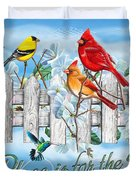 Songbirds Fence Duvet Cover by JQ Licensing