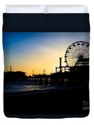 Southern California Santa Monica Pier Sunset Duvet Cover by Paul Velgos