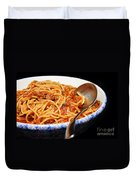 Spaghetti And Meat Sauce With Spoon Duvet Cover by Andee Design