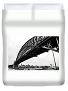 Spanning Sydney Harbour - Black And White Duvet Cover by Kaye Menner