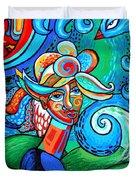 Spiral Bird Lady Duvet Cover by Genevieve Esson
