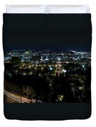 Spokane Washington Skyline At Night Duvet Cover by Daniel Hagerman