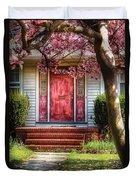 Spring - Door - Westfield Nj - Pink Duvet Cover by Mike Savad