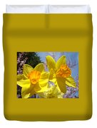 Spring Orange Yellow Daffodil Flowers Art Prints Duvet Cover by Baslee Troutman