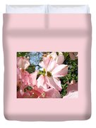 Spring Pink Dogwood Floral Art Prints Flowers Duvet Cover by Baslee Troutman