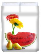 Spring Watermelon Duvet Cover by Carlos Caetano