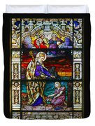 St Augustine By The Sea Shore Talking To A Child Duvet Cover by Christine Till