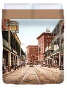 St Charles Street New Orleans 1900 Duvet Cover by Unknown