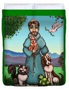 St. Francis Libertys Blessing Duvet Cover by Victoria De Almeida