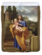 St. Joseph Carrying The Infant Jesus Duvet Cover by Pierre  Letellier