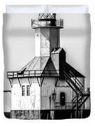 St. Joseph Lighthouse Black and White Picture  Duvet Cover by Paul Velgos