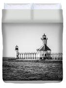 St. Joseph Lighthouses Black And White Picture  Duvet Cover by Paul Velgos