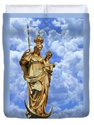 St Mary's Column Marienplatz Munich Duvet Cover by Christine Till