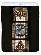 Stained Glass 3 Panel Vertical Composite 03 Duvet Cover by Thomas Woolworth