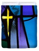 Stained Glass Cross Duvet Cover by Karen Lee Ensley