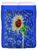 Stained Glass  Sunflower Over The Blue Sky Duvet Cover by Lanjee Chee