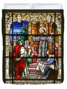 Stained Glass Window Saint Augustine Preaching Duvet Cover by Christine Till