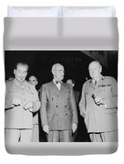 Stalin Truman And Churchill  Duvet Cover by War Is Hell Store