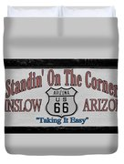 Standin' On A Corner In Winslow Arizona Duvet Cover by Christine Till