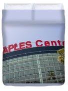 Staples Center Sign In Los Angeles California Duvet Cover by Paul Velgos