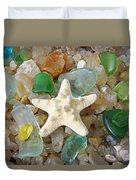 Starfish Fine Art Photography Seaglass Coastal Beach Duvet Cover by Baslee Troutman