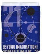 Starschips 21- Poststamp - Sputnik 2 Duvet Cover by Chungkong Art