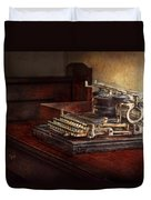 Steampunk - A Crusty Old Typewriter Duvet Cover by Mike Savad