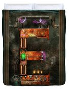Steampunk - Alphabet - E Is For Electricity Duvet Cover by Mike Savad