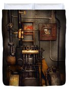 Steampunk - Back In The Engine Room Duvet Cover by Mike Savad