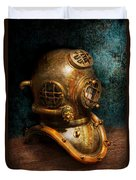 Steampunk - Diving - The Diving Helmet Duvet Cover by Mike Savad
