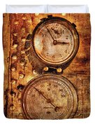 Steampunk - Gauges Duvet Cover by Mike Savad