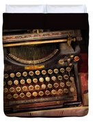 Steampunk - Just An Ordinary Typewriter Duvet Cover by Mike Savad