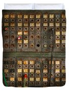 Steampunk - Phones - The Old Switch Board Duvet Cover by Mike Savad