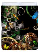 Steampunk - Surreal - Mind Games Duvet Cover by Mike Savad